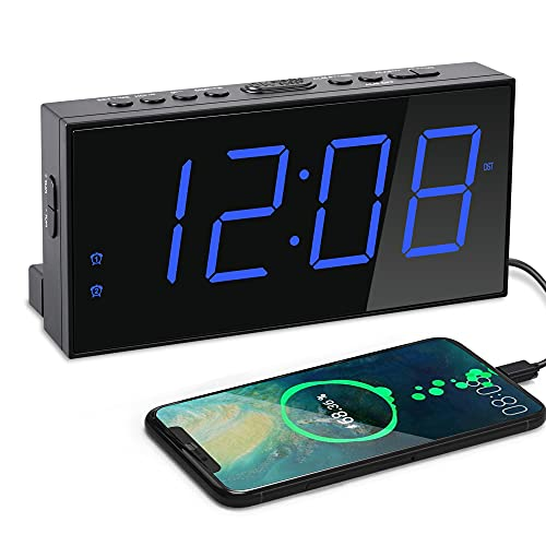 Digital Dual Alarm Clock for Bedrooms, Large Display Electric Clock with USB Charger, Battery Backup,Dimmer,4 Alarm Volume,DST 12/24H for Home Bedside Heavy Sleeper Kids Senior Teen Boy