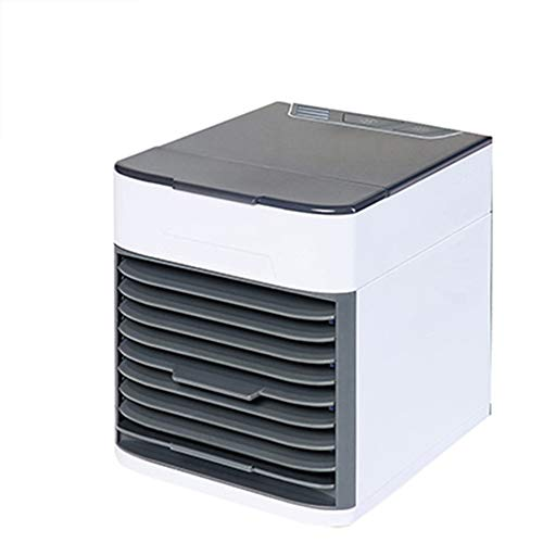 MEETOZ Personal Portable Air Cooler and Humidifier, USB Interface Fast Charging Suitable for Office and Home, Small Air Conditioner Desk Fan with 7 Color Night Light