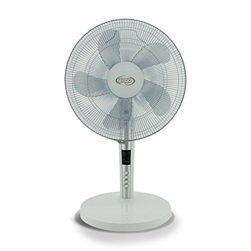 ARGO Tablo White Ventilatore da Tavolo, Diametro 40 cm, 5 Pale, Pannello Comandi Digitale, 3 velocità, Trasparente