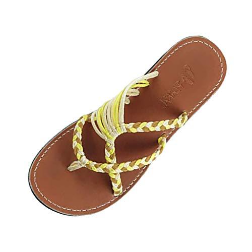 MRULIC Retro Damen Hausschuhe Hanfseil Flip Flops Flache Mode Römischen Sandalen Strand Schuh Zehentrenner Zuhause Hausschuhe(Gelb,41 EU)