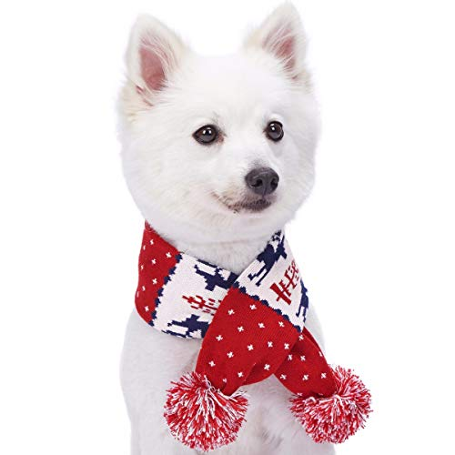 Blueberry Pet Retro 'Ugly' Weihnachtsrentier Festlicher Hundeschal in Tango Rot & Marineblau, XS