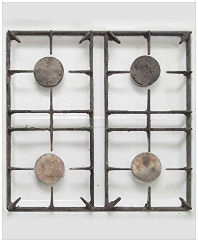 Wallario Magnet für Kühlschrank/Geschirrspüler, magnetisch haftende Folie - 65 x 80 cm, Motiv: Alter Gasherd, ungeputzt und dreckig