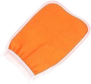 DealMux Nylon Início Banho Corpo Bath Shower Scrub Glove Mitt Laranja Branco