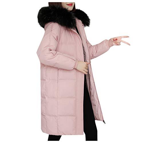 Carrymee Damen Steppjacke Langarm Winterjacke Steppmantel Einfarbig Wintermantel Lang Jacke Elegante Tops Outwear Mit Kapuze und Taschen
