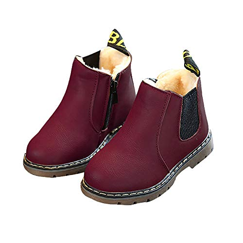 EsTong Baby Fur Lined Leather Boots Anti-Slip Winter Snow Booties for Toddler Boys Girls Wine 21: 12-18 Months