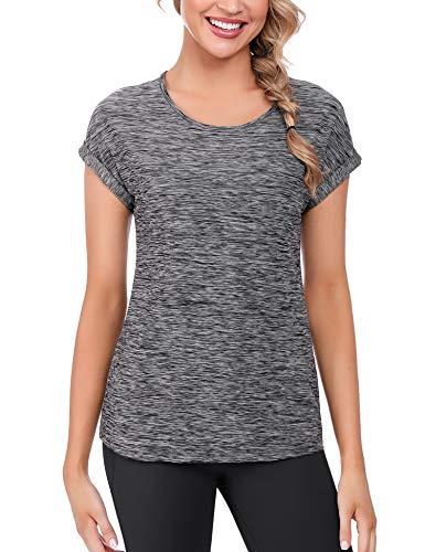 iClosam Camisetas Deporte Mujer Fitness Cuello Redondo BáSicas Seco RáPido Camiseta Mujers Running Manga Corta