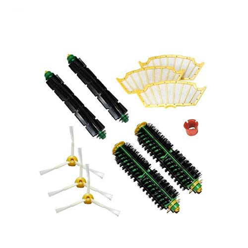 ADUCI 3 Filtro HEPA 2 de Cerdas y Flexible batidor Cepillo + 3 cepillos Laterales Kits + Herramientas de Limpieza for Roomba Serie 500 530 532 535 555