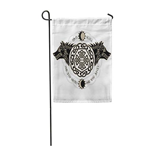 Semtomn 12'x 18' Garden Flag Two Wolves from Norse Mythology Hati and Skoll Devour The Sun and Moon White Home Outdoor Decor Double Sided Waterproof Yard Flags Banner for Party