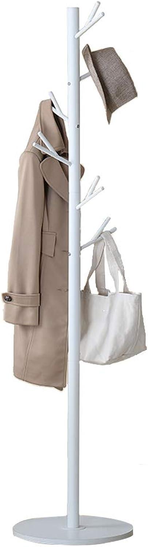 ZEMIN Floor Standing Coat Rack Clothes Hat Creative Tree Shrew Hanger 12 Hooks Easy Install, Stainless Steel, 2 colors (color   White, Size   40x40x173cm)