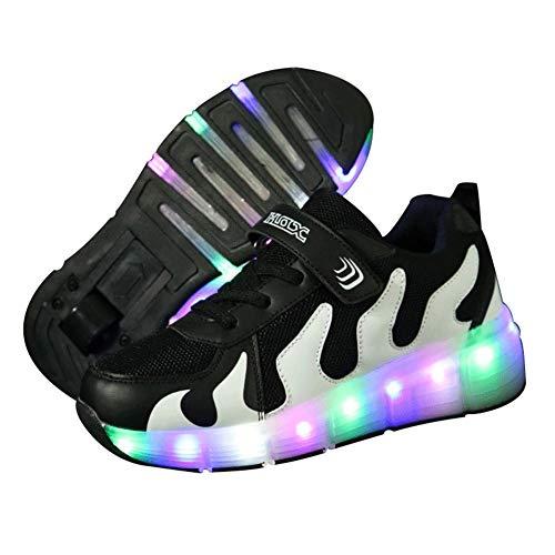 MNVOA Unisex Kinder Mode LED Schuhe mit Rollen Drucktaste Einstellbare Vibration Leuchten Skateboardschuhe Outdoor Gymnastik Turnschuhe Für Junge Mädchen,Black,37EU