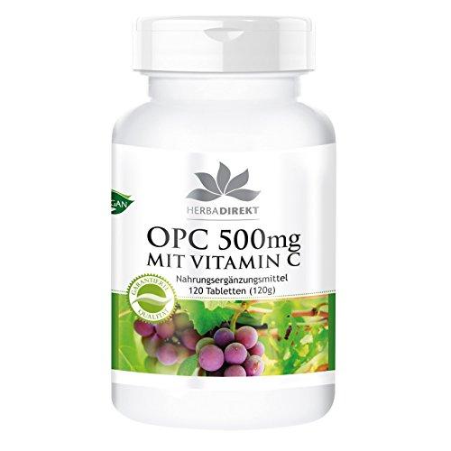 OPC 500mg mit Vitamin C - 120 Tabletten - Traubenkernextrakt - hochdosiert - Hergestellt in Deutschland