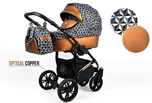 Lux4Kids Kinderwagen BlackOne 3in1 2in1 Megaset Buggy Autositz Babyschale Sportsitz Optical Copper 2in1 ohne Autositz