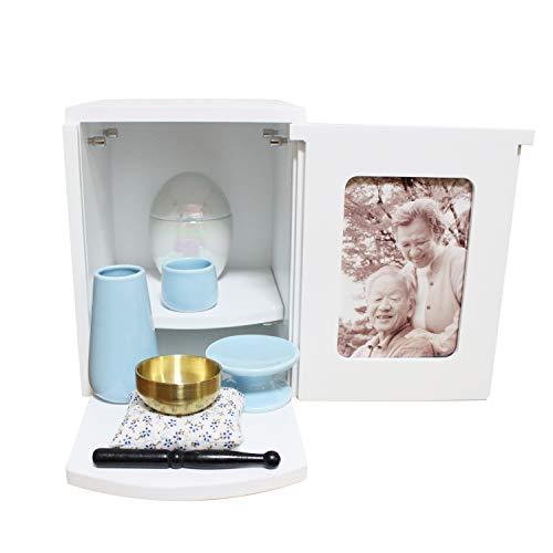 ミニ仏壇 メモリアルBOX ホワイト ミニ仏具3点セット ブルー おりん 2〜4寸骨壷収納