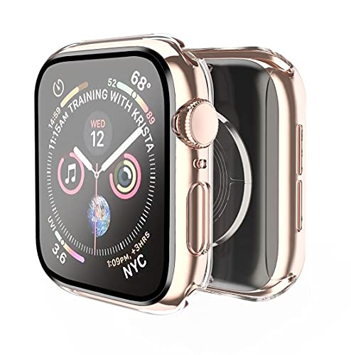 Smiling Case Compatible with Apple Watch Series 6/SE/Series 5/Series 4 40mm with Built in Tempered Glass Screen Protector,Overall Protective Hard PC Case Ultra-Thin Cover- Clear
