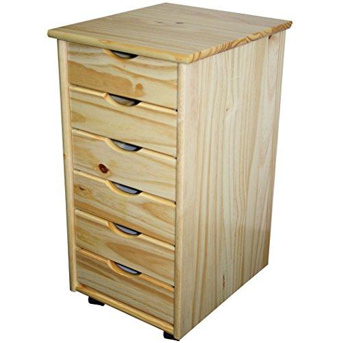 KMH®, Caisson de bureau à roulettes avec 6 tiroirs en pin massif (naturel) (#201124)