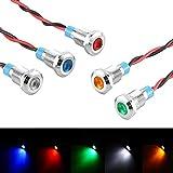 Bkinsety 5 Pcs 12v 8mm LED Indicateur Panneau Pilote Dash Avertissement Voyant de Lumière Lampe De Voiture Van Bateau