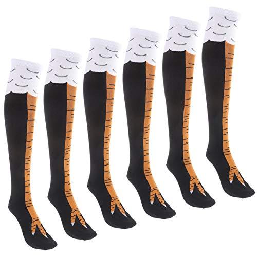 Marlon Nancy Effektive 3 Paar lustige Hühnerbein-Socken Kniestrümpfe Oberschenkelstrümpfe
