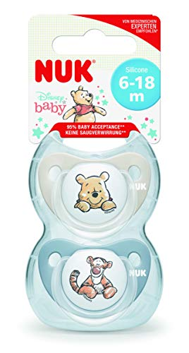 NUK Disney Baby Schnuller | 6-18 Monate | Silikon Schnuller | BPA-frei | Winnie the Pooh | 2 Stück