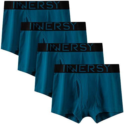 INNERSY Boxershorts Herren Baumwolle Hipster Trunks mit Eingriff Pants Unterwäsche 4er Pack (L, Blauer See)