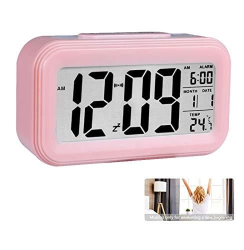 Reloj de Alarma Digital ,LCD Pantalla Reloj Alarma Inteligente y con Pantalla de Fecha y Temperatura Función Despertador con Sensor de luz y función Snooze Funciones, para Niños Adultos(Rosado)