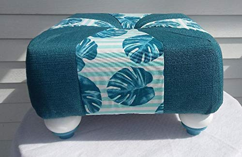 18 inch Handmade Square Teal Ranking TOP15 Aqua Foots Tuffet Very popular White Leaves Palm