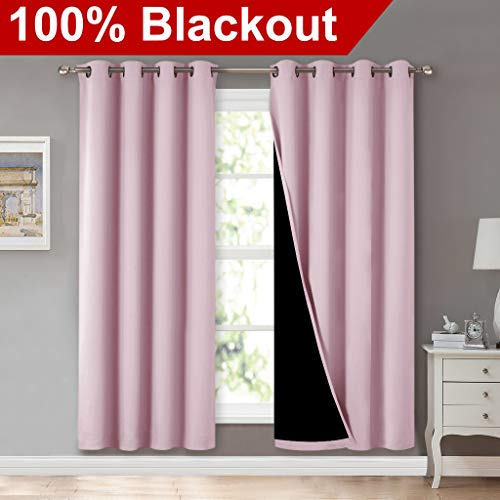 NICETOWN 100% Blackout Window Panel Curtains, Full Light Blocking Drapes with Black Liner for Nursery, 72 inches Drop Thermal Insulated Draperies (Lavender Pink, 2 Pieces, 52 inches Wide Per Panel)
