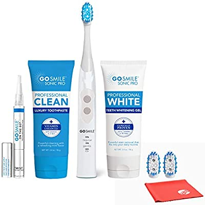 Go Smile Sonic Blue Smart Brush Whitening Kit with Professional Clean Luxury Toothpaste and On the Go Whitening Pen