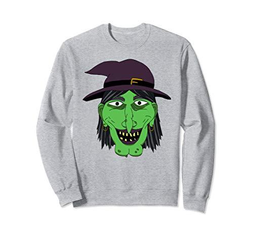 Graphic Green Hexengesicht Halloween Easy Kostüm Sweatshirt