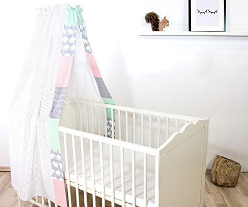 ULLENBOOM ® Betthimmel Baby 135x200 cm Elefant Mint Rosa (Made in EU) - Babybett Baldachin aus ÖkoTex Baumwolle, für 60x120 cm & 70x140 cm Kinderbett, Motiv: Punkte, Sterne, Waldtiere, Patchwork