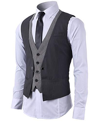 STTLZMC Gilet Uomo Slim Fit Elegante Casual Smanicato Scollo a V Panciotto Matrimonio Corpetto 2in1 Blazer(Niente Camicia),Grigio,XX-Large