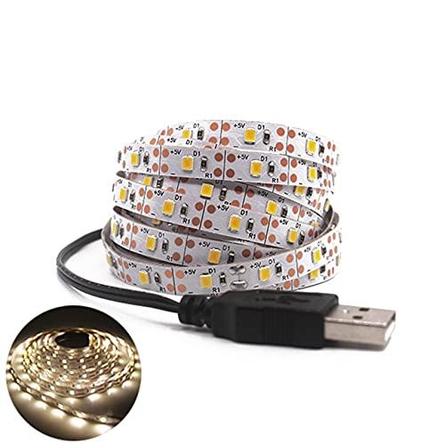 Marekyhm-es 5V USB LED Strip LED Luz Flexible 1m 2m 3m 5m Blanco Caliente para el Fondo de la TV Lighting Night Tape Blacklight (Emitting Color : White, Wattage : 5M)