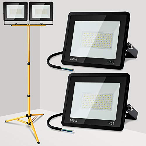 Hengda LED Außenstrahler mit Stativ, 2 Stück 100W, IP65 Wasserdicht Fluter Strahler, LED Baustrahler Scheinwerfer mit Strahler Stativ, Höhenverstellbar (80CM bis 160CM), 3000K Warmweiß 8000LM