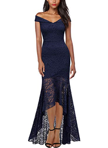 MIUSOL Damen Elegant Spitzen Cocktailkleid Schulterfrei Lange Asymmetric Maxi Abendkleider Navy Blau S