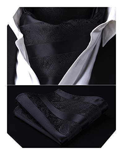 Men's Cravat Ascot Ties Paisley Jacquard Woven Floral Luxury Black Ascot Scarf Charcoal Tie and Handkerchief Set