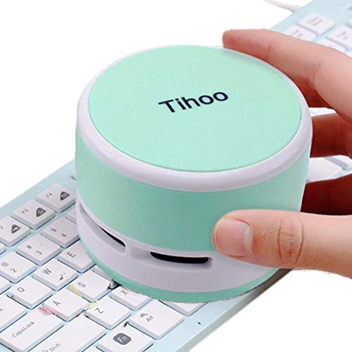 Tihoo Keyboard Vacuum Cleaner Computer Desktop Table Dust Sweeper for Countertop Crumbs Collector for Eraser Shaving Table Cleaner for Kitchen Gadgets Mint Office Supplies