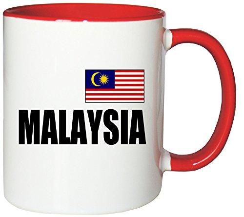 Mister Merchandise Kaffeetasse Malaysia Fahne Flag Teetasse Becher, Farbe: Weiß-Rot