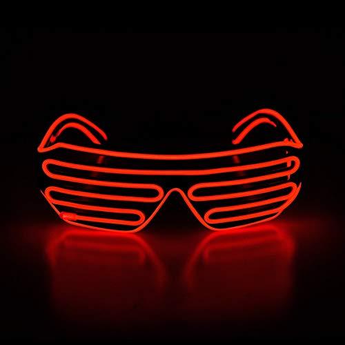 KingCorey Light Up Flashing Shutter Gafas de neón Rave Gafas de Sol El Wire LED Gafas de Sol activadas por Voz Disfraces de DJ para los 80, EDM, Fiesta (Rojo)