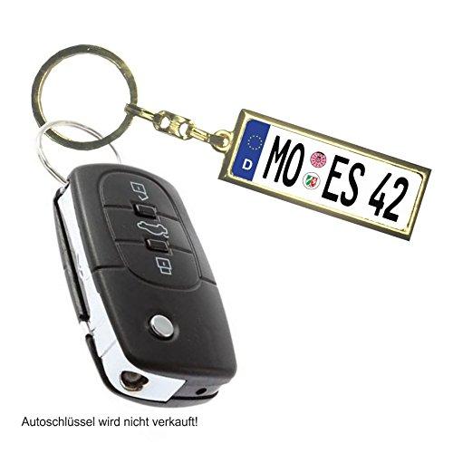 Schlüsselanhänger in Mini Kennzeichen Form/Gold Personalisiertes Schlüsselanhänger in einem edlen und sehr dünnen Design -Gold- Limited Edition