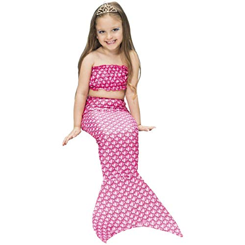 Fantasia de Sereia Infantil Rosa Com Cauda e Top 2 a 10 Anos (GG 9-10)
