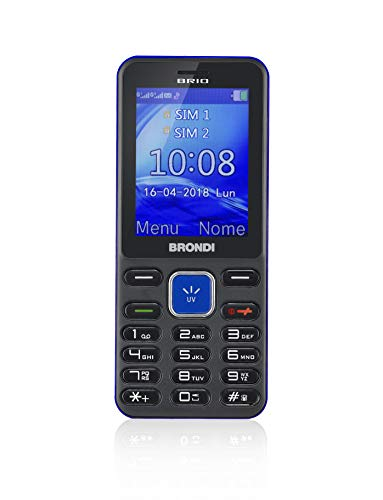 Brondi Brio Cellulare Barphone Dual Sim, Nero/Blu