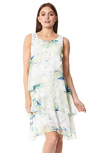 Roman Originals Vestido de capa con estampado floral para mujer, sin mangas, cuello redondo, día de carrera, ocasión especial, boda, invitado de noche, volantes, vestidos de volantes