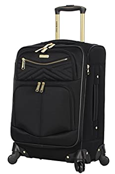 Steve Madden Designer 20 Inch Carry On Luggage Collection - Lightweight Softside Expandable Suitcase for Men & Women - Durable Bag with 4-Rolling Spinner Wheels  Rockstar Black 20in
