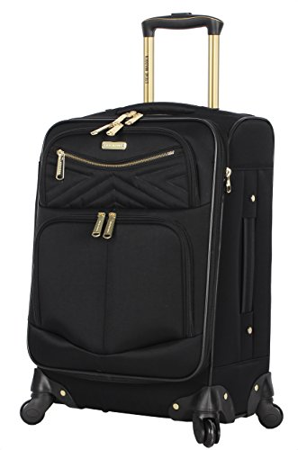 Steve Madden Designer Luggage Collection - Lightweight Softside Expandable Suitcase for Men & Women - Durable 20 Inch Carry On Bag with 4-Rolling Spinner Wheels (Rockstar Black, 20in)