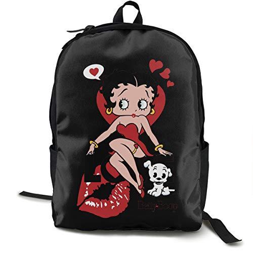 N / A Betty Boop Pack Mochila Clásica Escolar Negro Bolsa de viaje de trabajo para Poliéster Unisex Escuela