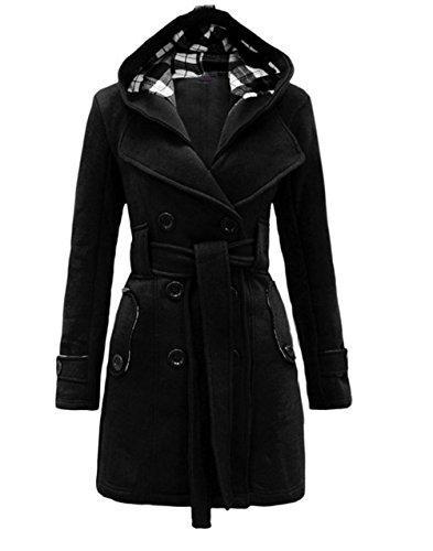 Cocominibox - Cappotto a trench, doppiopetto, da donna, invernale, in pile caldo e pesante, con cappuccio Black Small