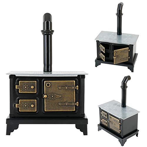 BARMI 1/12 Dollhouse Mini Furniture Iron Stove Long Chimney Model Toy Landscape Decor,Perfect DIY Dollhouse Toy Gift Set