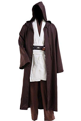 Cosplaysky Jedi-Kostüm für Erwachsene, Tunika und Bademantel mit Kapuze -  Weiß -  Medium