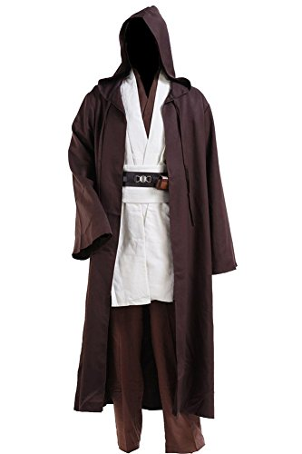 Cosplaysky Adult Outfit for Jedi Costume Halloween Robe Tunic Hooded Uniform Large