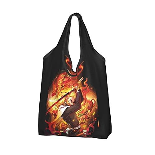 Demon Slayer Rengoku Kyoujurou Bolsa de la compra reutilizable Bolsas de asas ligeras Bolsa grande Bolsas de...