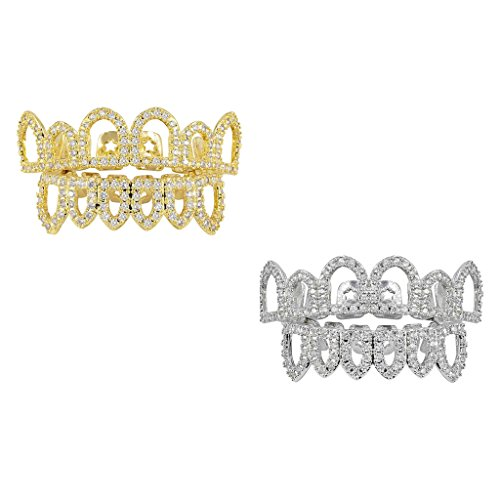 dailymall 2er Set Silber/Gold 18k Vergoldet CZ Top Fang Bottom Fang Mouth Grills Halloween Bling Teeth Caps